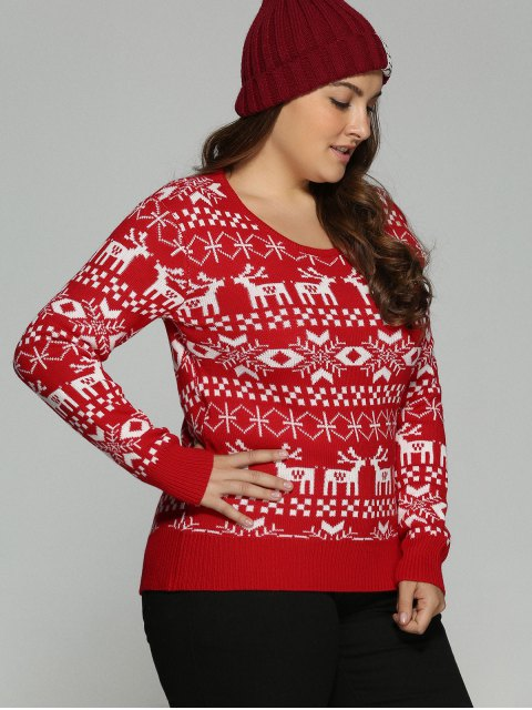 womens Christmas Jacquard Pullover Plus Size Sweater - RED 2XL Mobile