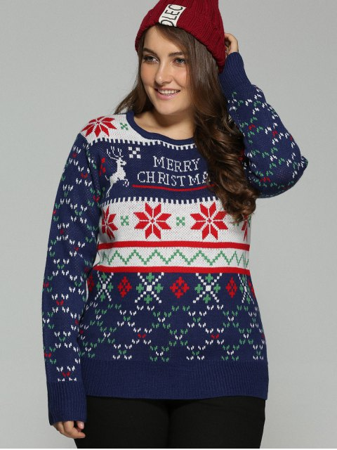 online Christmas Snowflake Jacquard Plus Size Pullover Sweater - DEEP BLUE XL Mobile