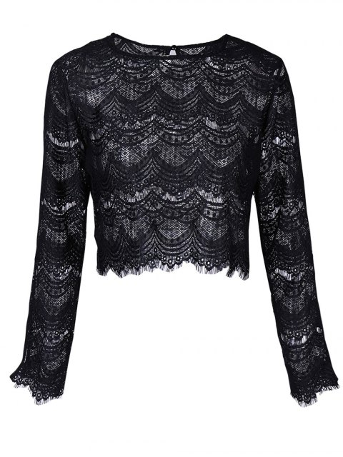 fancy Round Neck Long Sleeve Lace Top - BLACK M Mobile