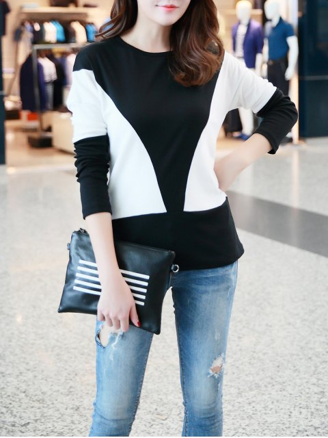 best Contrast Color Fitting T-Shirt - WHITE ONE SIZE Mobile