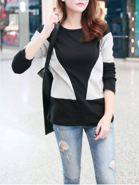 new Contrast Color Fitting T-Shirt - GRAY ONE SIZE Mobile