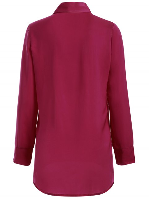 outfit Long Sleeve Pussy Bow Blouse - WINE RED M Mobile