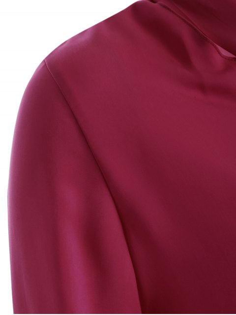 new Long Sleeve Pussy Bow Blouse - WINE RED XL Mobile