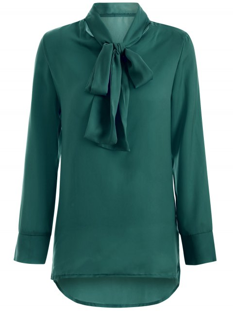 latest Long Sleeve Pussy Bow Blouse - GREEN M Mobile