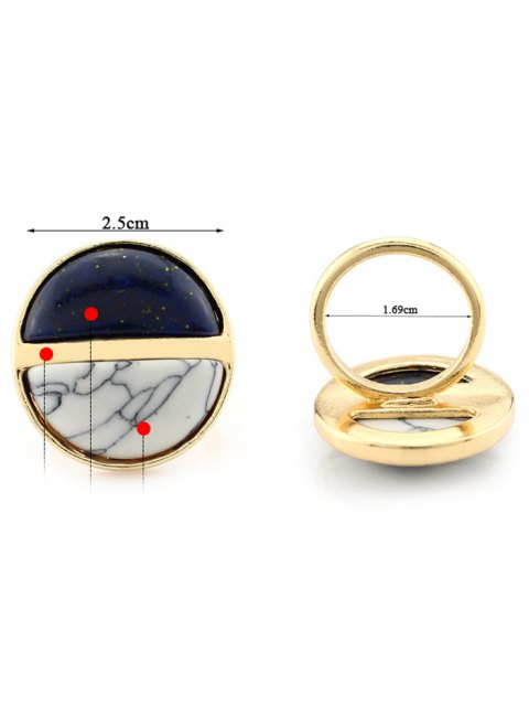 Color Block Round Ring - Noir  Mobile