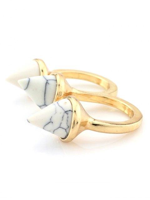 ladies Cone Triple Finger Ring - WHITE  Mobile