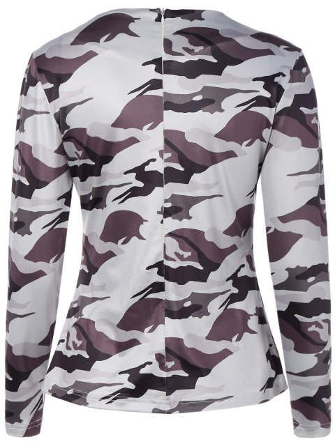 buy Cut Out Camouflage T-Shirt - WHITE M Mobile