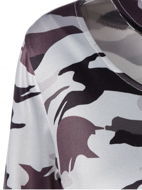 affordable Cut Out Camouflage T-Shirt - WHITE L Mobile