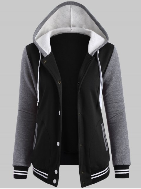 outfit Hooded Varsity Baseball Fleece Sweatshirt Jacket - BLACK 2XL Mobile