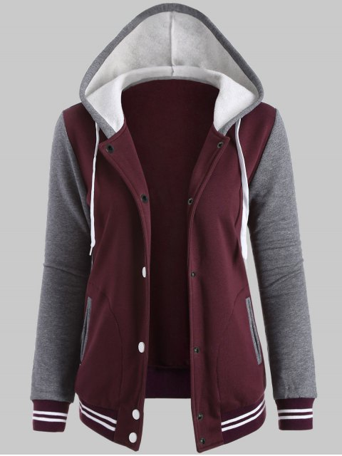 fashion Hooded Varsity Baseball Fleece Sweatshirt Jacket - WINE RED XL Mobile