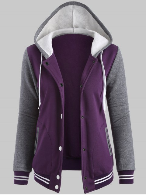 chic Hooded Varsity Baseball Fleece Sweatshirt Jacket - PURPLE 5XL Mobile
