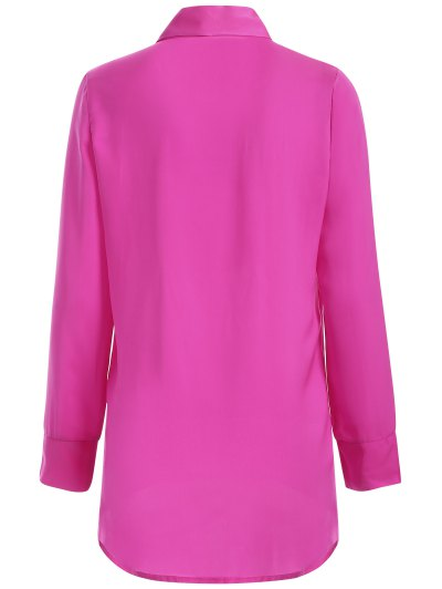 Long Sleeve Pussy Bow Blouse - ROSE RED L Mobile