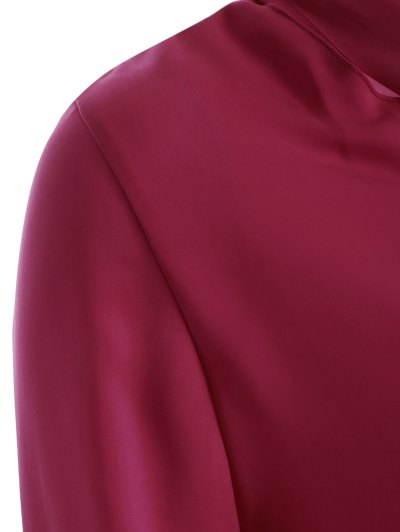 Long Sleeve Pussy Bow Blouse - WINE RED L Mobile