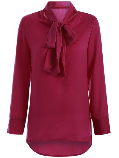 Long Sleeve Pussy Bow Blouse - WINE RED M Mobile