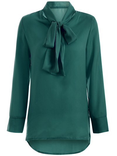 Long Sleeve Pussy Bow Blouse - GREEN L Mobile