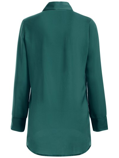 Long Sleeve Pussy Bow Blouse - GREEN M Mobile