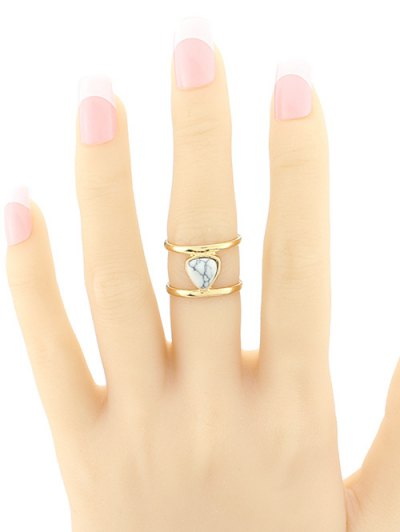 Faux Turquoise Cage Ring - WHITE  Mobile