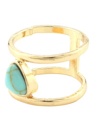 Faux Turquoise Cage Ring - TURQUOISE  Mobile