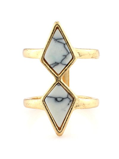 Rhombus Cage Ring - WHITE  Mobile