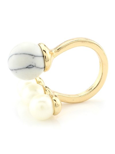 Faux Pearl Ball Ring - WHITE  Mobile