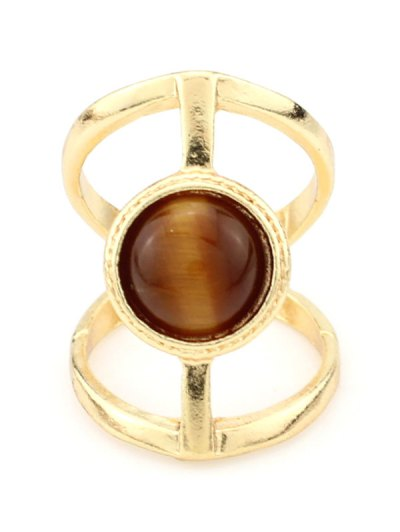 Natural Stone Hollow Ring - TEA-COLORED  Mobile