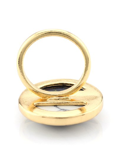 Color Block Round Ring - BLACK  Mobile