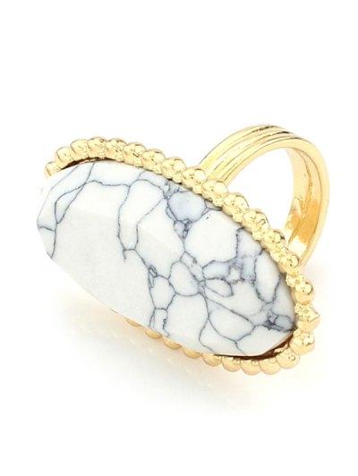 Beaded Edge Oval Ring - WHITE  Mobile