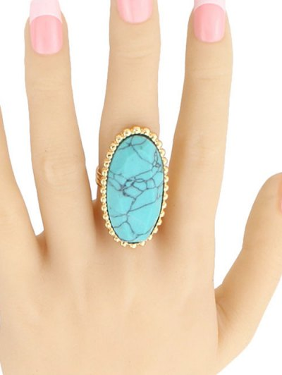 Beaded Edge Oval Ring - TURQUOISE  Mobile