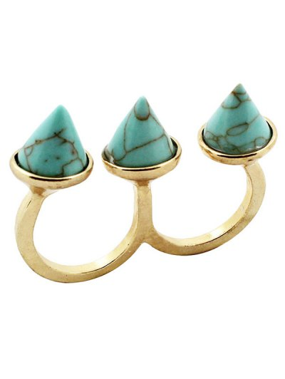 Cone Triple Finger Ring - TURQUOISE  Mobile