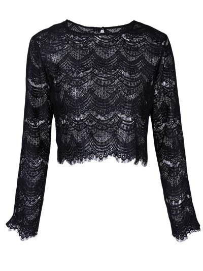 Round Neck Long Sleeve Lace Top - BLACK XL Mobile