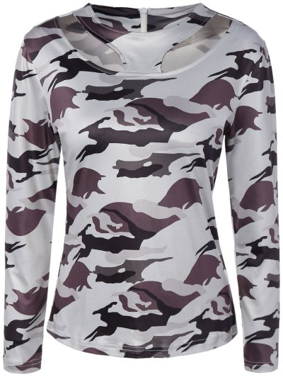 Cut Out Camouflage T-Shirt - WHITE L Mobile