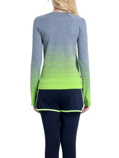 Ombre Yoga Gym T-Shirt - GREEN S Mobile