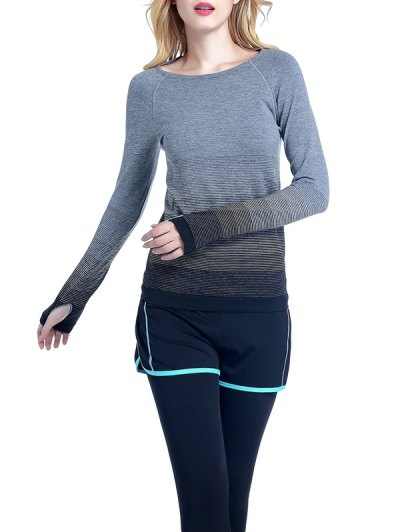 Ombre Yoga Gym T-Shirt - BLACK S Mobile