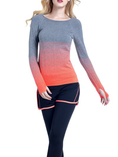 Ombre Yoga Gym T-Shirt - ORANGE L Mobile