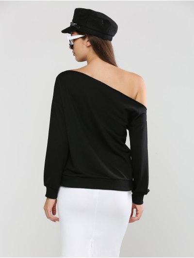 Long Sleeve Skew Neck Lip Printed Sweatshirt - BLACK L Mobile