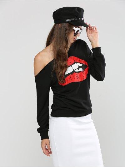 Long Sleeve Skew Neck Lip Printed Sweatshirt - BLACK S Mobile