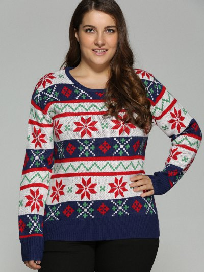 Christmas Jacquard Plus Size Sweater - WHITE 5XL Mobile
