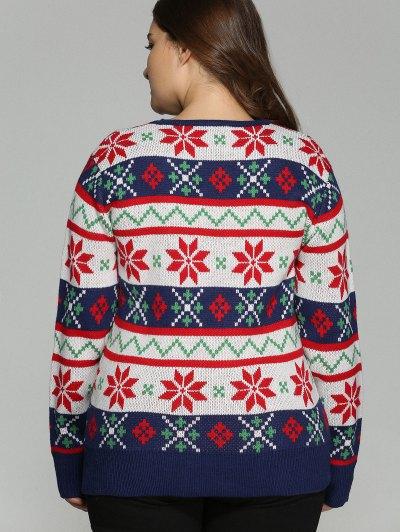 Christmas Jacquard Plus Size Sweater - WHITE 3XL Mobile