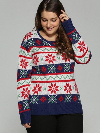Christmas Jacquard Plus Size Sweater - WHITE XL Mobile
