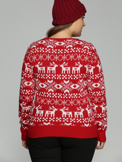 Christmas Jacquard Pullover Plus Size Sweater - RED 5XL Mobile