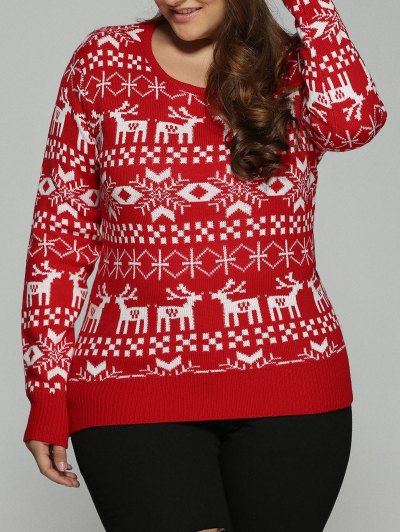 Christmas Jacquard Pullover Plus Size Sweater - RED 3XL Mobile