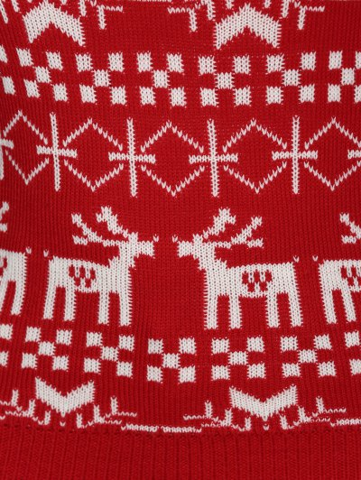 Christmas Jacquard Pullover Plus Size Sweater - RED 2XL Mobile