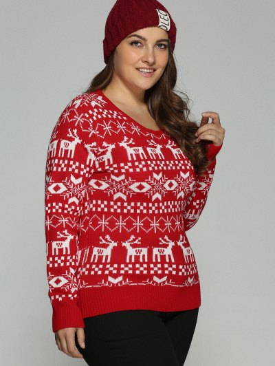 Christmas Jacquard Pullover Plus Size Sweater - RED XL Mobile