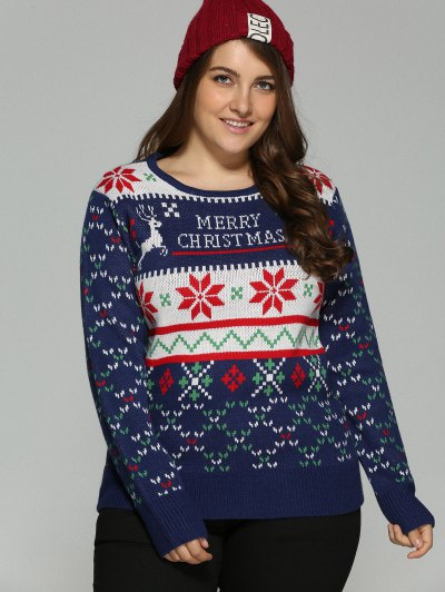 Christmas Snowflake Jacquard Plus Size Pullover Sweater - DEEP BLUE 3XL Mobile