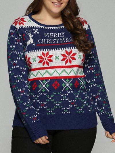 Christmas Snowflake Jacquard Plus Size Pullover Sweater - DEEP BLUE XL Mobile