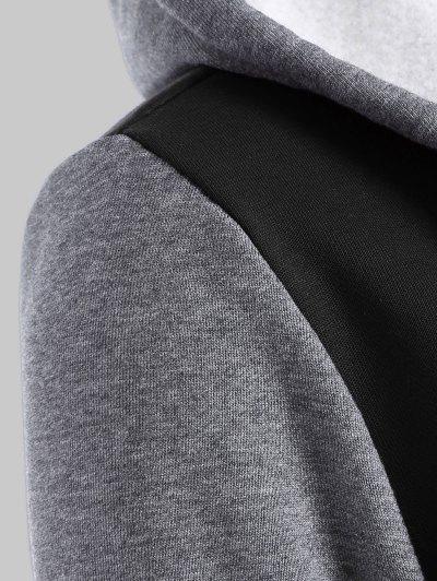 Hooded Varsity Baseball Fleece Sweatshirt Jacket - BLACK 4XL Mobile