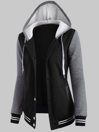 Hooded Varsity Baseball Fleece Sweatshirt Jacket - BLACK XL Mobile