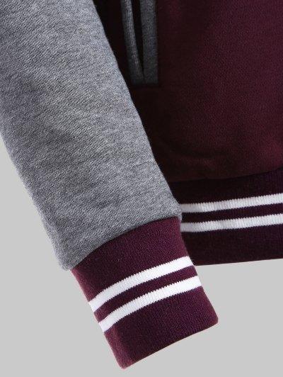 Hooded Varsity Baseball Fleece Sweatshirt Jacket - WINE RED 5XL Mobile