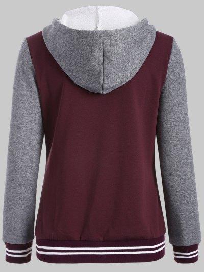 Hooded Varsity Baseball Fleece Sweatshirt Jacket - WINE RED 3XL Mobile