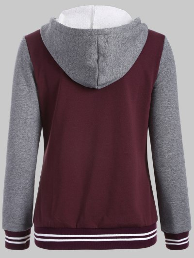 Hooded Varsity Baseball Fleece Sweatshirt Jacket - WINE RED XL Mobile